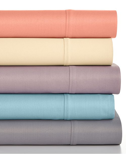 Sunham CLOSEOUT! Caprice Solid  California King 4-Pc Sheet Set, 350 Thread Count, Created for Macy's