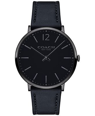 COACH Men's Slim Easton Black Leather Strap Watch 40mm 14602112