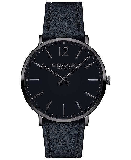eb5d6562c4 COACH Men s Slim Easton Black Leather Strap Watch 40mm 14602112
