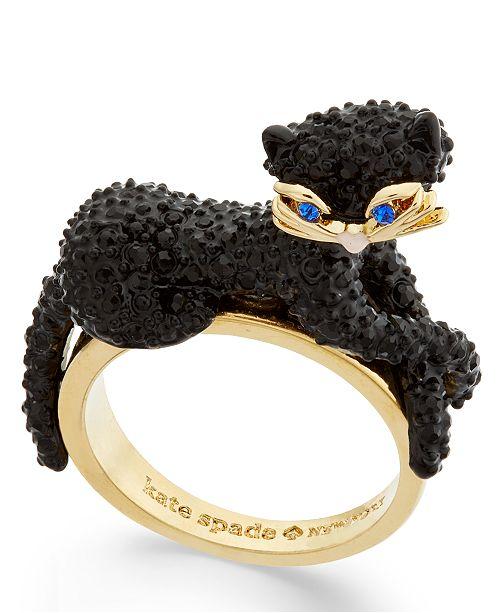kate spade new york Gold-Tone Jet Pavé Three-Dimensional Cat Statement Ring