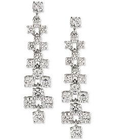 Carolee Silver-Tone Crystal Ladder Linear Drop Earrings