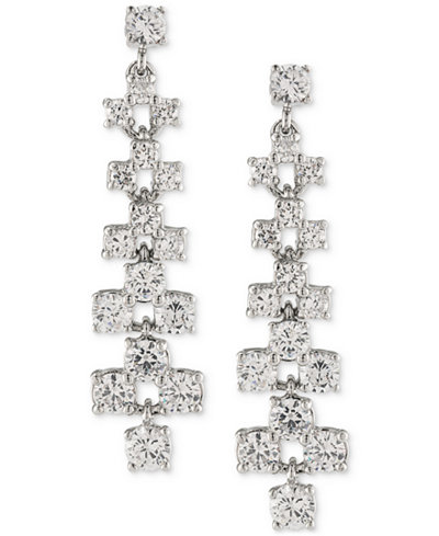 Carolee Silver-Tone Crystal Ladder Linear Drop Earrings