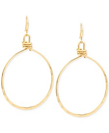Extra Large Gold-Tone Wire Gypsy Hoop Earrings