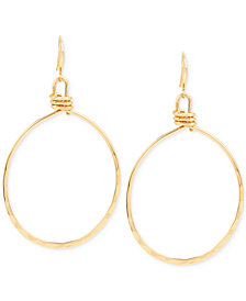Robert Lee Morris Soho Extra Large Gold-Tone Wire Gypsy Hoop Earrings