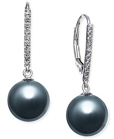 Cultured Tahitian Pearl (9mm) and Diamond (1/10 ct. t.w.) Drop Earrings in 14k White Gold