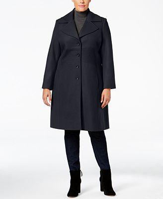 Tommy Hilfiger Plus Size Wool-Blend Walker Coat