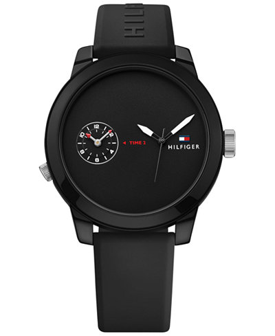 Tommy Hilfiger Men's Cool Sport Black Silicone Strap Watch 42mm 1791326, Created for Macy's