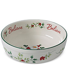 "Pfaltzgraff Winterberry  Santa Believe 7"" Stoneware Candy Bowl, Created for Macy's"