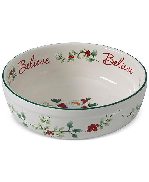 "Pfaltzgraff Winterberry  Santa Believe 7"" Stoneware Candy Bowl, Created for Macy's"