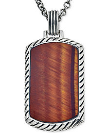 Esquire Men's Jewelry Red Tiger Eye (36 x 20mm) Dog Tag Pendant Necklace in Sterling Silver, Created for Macy's