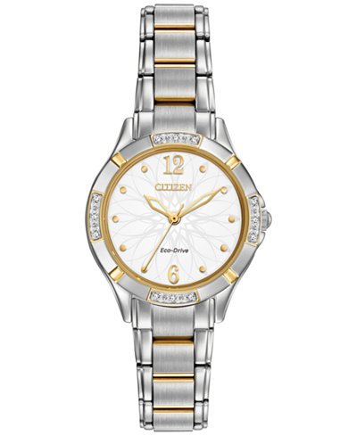 Citizen Women's Eco-Drive Diamond Accent Two-Tone Stainless Steel Bracelet Watch 30mm EM0454-52A