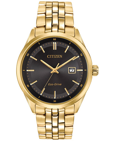 Citizen Men's Eco-Drive Gold-Tone Stainless Steel Bracelet Watch 41mm BM7252-51E