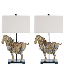 Regina Andrew Design Set of 2 Dynasty Horse Lamps