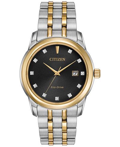 Citizen Men's Eco-Drive Diamond Accent Two-Tone Stainless Steel Bracelet Watch 39mm BM7344-54E