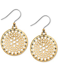 Two-Tone Openwork Disc Drop Earrings