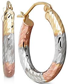 Tri-Tone Textured Hoop Earrings in 10k Gold, 3/4 inch