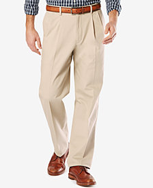 Dockers Men's Stretch Relaxed Fit  Signature Khaki Pants Pleated D4