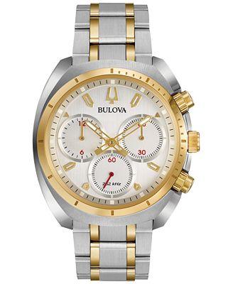 Bulova Men's Chronograph Curv Two-Tone Stainless Steel Bracelet Watch 43mm 98A157