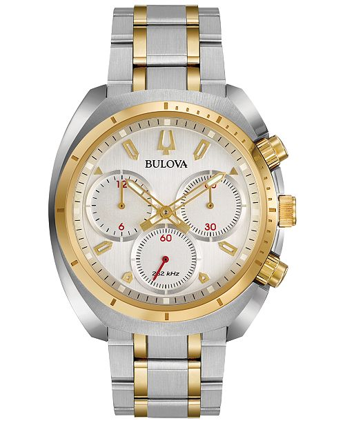Bulova Men's Chronograph Curv Two-Tone Stainless Steel Bracelet Watch 43mm 98A157