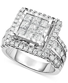 Diamond Square Cluster Engagement Ring (2-1/2 ct. t