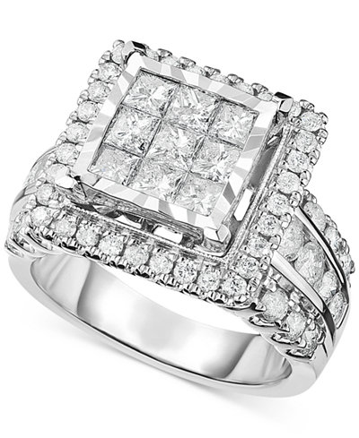 diamond square cluster engagement ring 2 12 ct tw in macys - Macys Wedding Rings