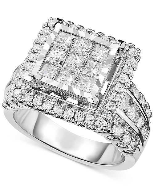 Macy's Diamond Square Cluster Engagement Ring (2-1/2 Ct. T