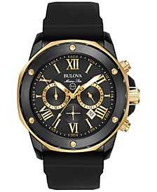 Men's Chronograph Marine Star Black Silicone Strap Watch 44mm 98B278