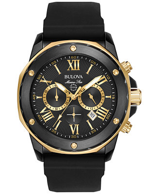 Men's Chronograph Marine Star Black Silicone Strap Watch 44mm 98 B278 by Bulova