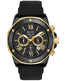 Bulova Men's Chronograph Marine Star Black Silicone Strap Watch 44mm 98B278
