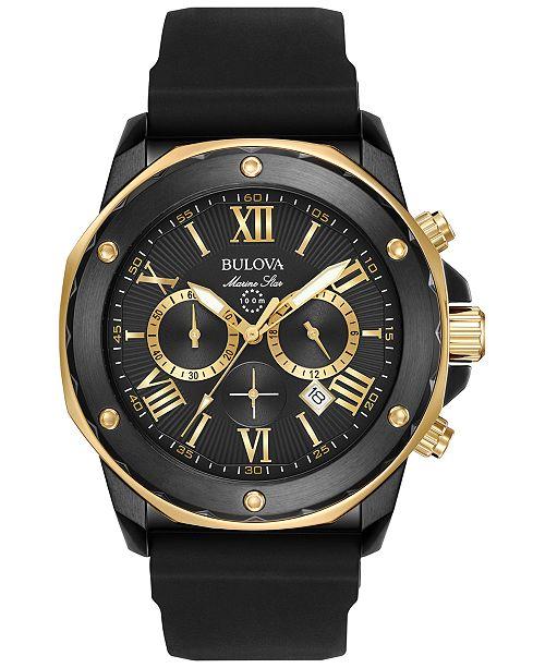 9c4a056bae2 ... Bulova Men s Chronograph Marine Star Black Silicone Strap Watch 44mm  98B278 ...