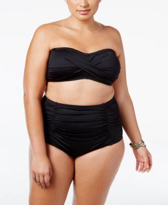 La Blanca Plus Size Twist Bikini Top & High-Waist Bottoms