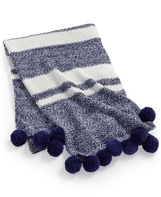Whim by Martha Stewart Collection Bar Code Aquatic Throw, Created for Macy's