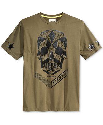 Sean john men 39 s skull studded logo graphic print t shirt for Sean john t shirts for mens