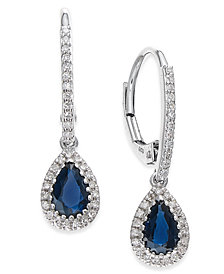 Sapphire (9/10 ct. t.w.) and Diamond (1/5 ct. t.w.) Drop Earrings in 14k White Gold