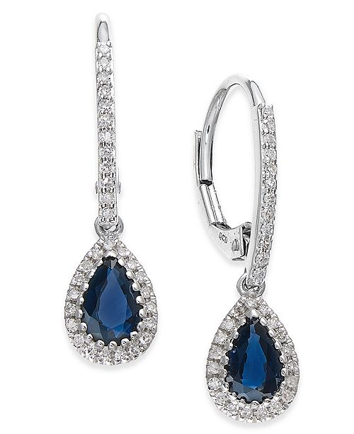 96b7a6154 Macy's Sapphire (9/10 ct. t.w.) and Diamond (1/5. Macy's / Jewelry & Watches  / Earrings