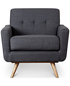 Heleen Tufted Fabric Armchair, Quick Ship