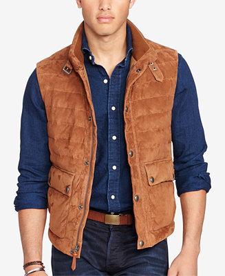 Polo Ralph Lauren Men S Quilted Suede Down Vest Coats