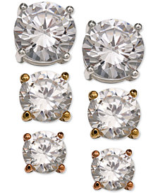Giani Bernini 3-Pc. Set Cubic Zirconia Stud Earrings in Sterling Silver, 18k Gold-Plated and Rose Gold-Plated Sterling Silver, Created for Macy's