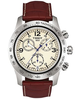 Tissot Men's Swiss Chronograph V8 Brown Leather Strap Watch 43mm T36131672
