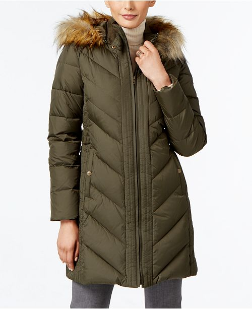 035d59e5ad3 Larry Levine Faux-Fur-Trim Chevron-Quilted Down Coat   Reviews ...