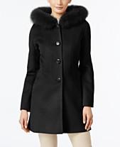 bbebd49900787 Forecaster Fox-Fur-Trim Hooded Walker Coat