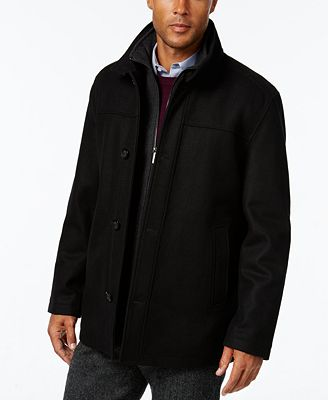 London Fog Men's Wool-Blend Layered Car Coat - Coats & Jackets ...
