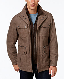 Michael Kors Men's Big & Tall Wool-Blend Field Coat with Attached Bib