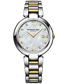 RAYMOND WEIL Women's Swiss Shine Diamond Accent Two-Tone PVD Stainless Steel Bracelet Watch with Interchangeable Black Satin Strap 32mm 1600-STP-00995