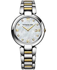RAYMOND WEIL Women's Swiss Shine Diamond Accent Two-Tone PVD Stainless Steel Bracelet Watch with Interchangeable Black Satin Strap 32mm 1600-STP-00995