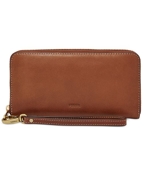 Fossil Emma RFID Leather Zip Wallet