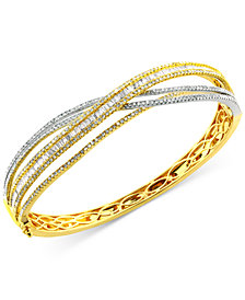 Duo by EFFY® Diamond Bangle Bracelet (3-1/6 ct. t.w.) in 14k Yellow and White Gold