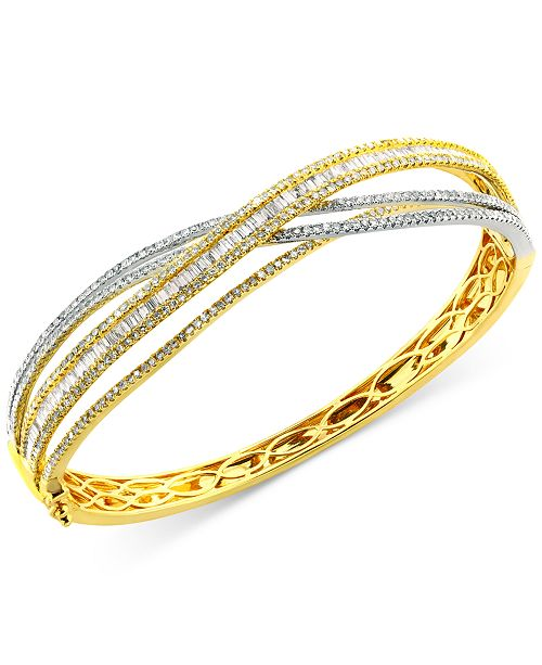 EFFY Collection Duo by EFFY® Diamond Bangle Bracelet (3-1/6 ct. t.w.) in 14k Yellow and White Gold