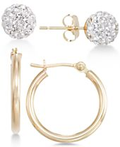 2-Pc. Set Crystal Fireball Stud and Polished Hoop Earrings in 10k Gold