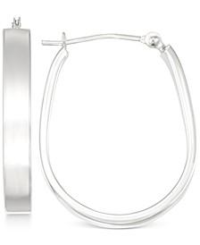 Polished Pear-Shape Hoop Earrings in 10k White Gold